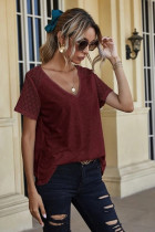 Red V-neck Stitching Lace Sleeve Tops