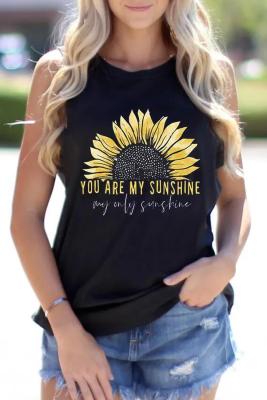 Sunflower Print Graphy Tank Tops