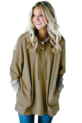 Khaki Color Block With Pockets Hoodies