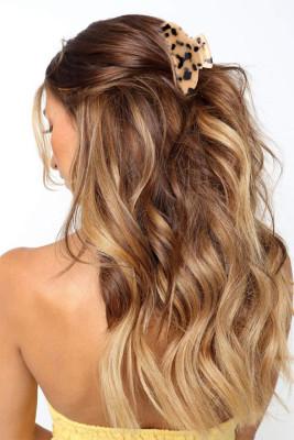 Apricot Leopard Print Hair Claw