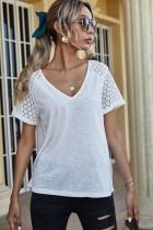 White V-neck Stitching Lace Sleeve Tops