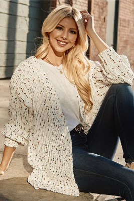 White Color Dot Long Sleeve Sweater Cardigan with Pocket