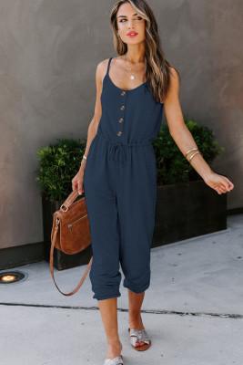 Blue Pocketed Knit Jumpsuit