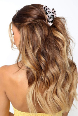 White Leopard Print Hair Claw