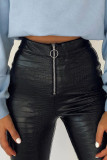Black Round Zipper PU Leather Pants