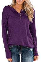 Purple V Neck With Button Tops