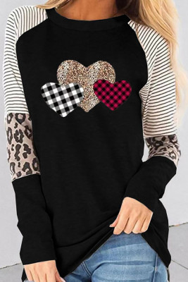 Black Heart Striped Leopard Long Sleeve Top