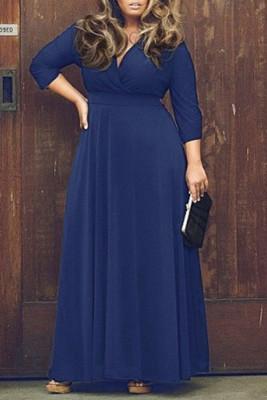 Dark Blue V Neck Plus Size Maxi Dresses