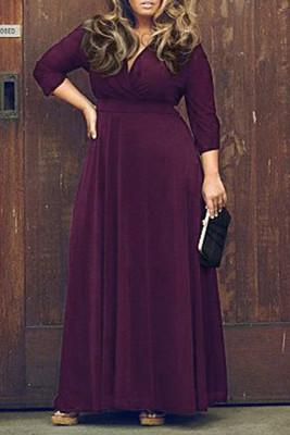 Purple V Neck Plus Size Maxi Dresses