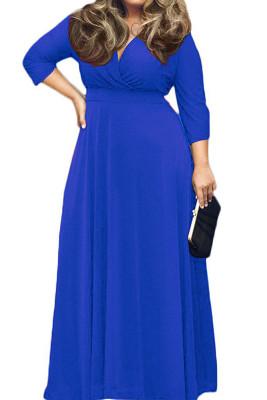 Blue V Neck Plus Size Maxi Dresses