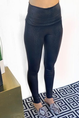 Black Shiny Leopard Textured Leggings