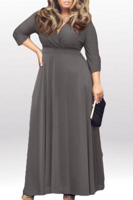 Gray V Neck Plus Size Maxi Dresses