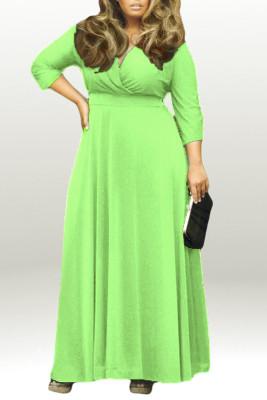 Green V Neck Plus Size Maxi Dresses