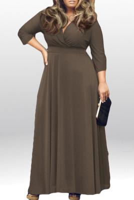 Coffee V Neck Plus Size Maxi Dresses