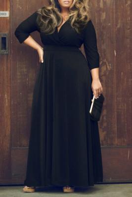 Black V Neck Plus Size Maxi Dresses