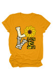 Yellow Love Floral Letter Print T-shirts