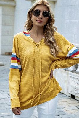 Yellow Striped Hollow Out Hoodies