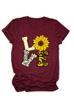 Wine Red Love Floral Letter Print T-shirts