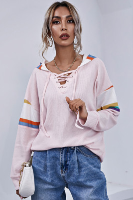 Pink Striped Hollow Out Hoodies