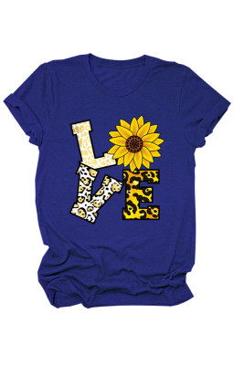 Blue Love Floral Letter Print T-shirts