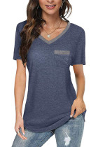 Blue V Neck Patchwork With Pockets T-shirts