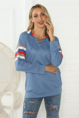 Blue Striped Hollow Out Hoodies