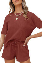 Burgundy Solid Color Loungewear Pajamas Set