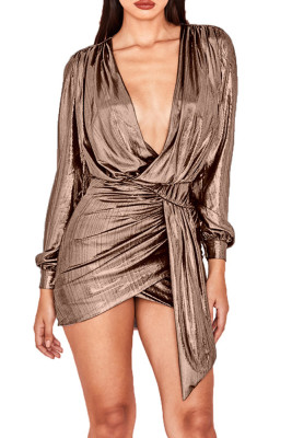 Gold Deep V-neck with Hot Stamping Zipper Mini Dress