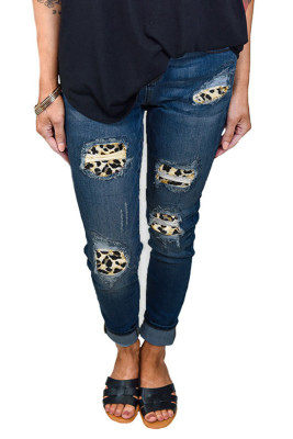 Leopard Printed Hollow Washed Stretch Jeans