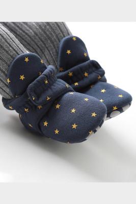 Dark Blue Baby Soft Bottom Velvet Cotton Shoes