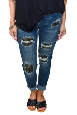 Multi-colored Printed Hollow Washed Stretch Jeans