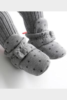 Grey Baby Soft Bottom Velvet Cotton Shoes