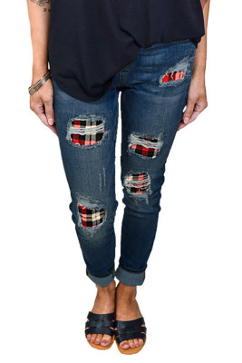 Red Printed Hollow Washed Stretch Jeans