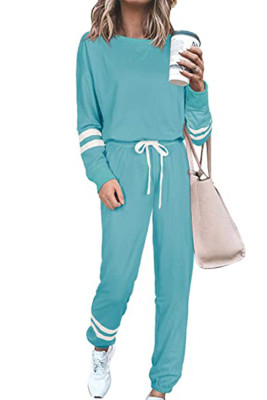Light Blue Round Neck Long Sleeve Two Piece Pants Set