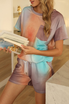 Multi-colored Two Pieces Loungewear Tie Dye Set with Pocket
