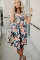 Gray Floral Print Short Sleeve Pleated Mini Dress