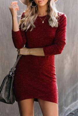 Red Long Sleeve Wrap Hem Mini Dress