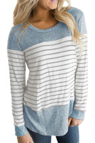 Blue Striped O-Neck Long Sleeve Top