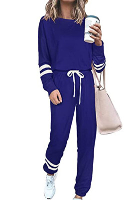 Dark Blue Round Neck Long Sleeve Two Piece Pants Set