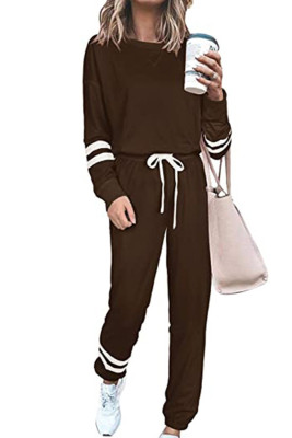 Coffee Round Neck Long Sleeve Two Piece Pants Set