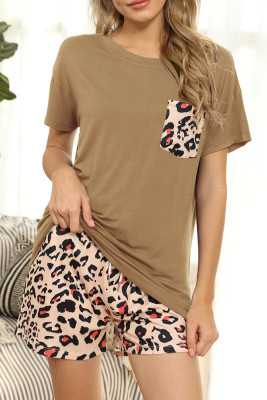 Coffee Leopard Two Pieces Loungewear Set with Pocket
