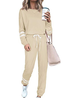 Apricot Round Neck Long Sleeve Two Piece Pants Set