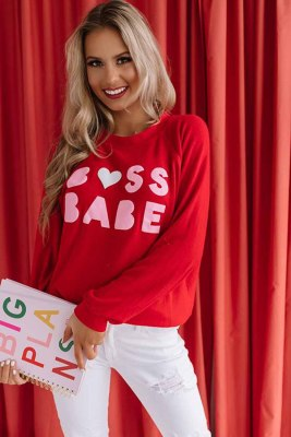 Red Crew Neck Letter Print Valentine Sweatshirt