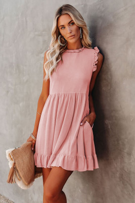Pink Pocketed Ruffle Babydoll Dress