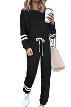 Black Round Neck Long Sleeve Two Piece Pants Set
