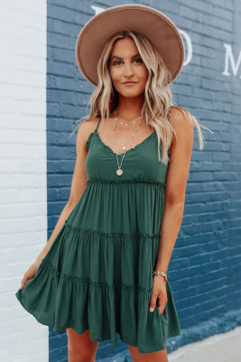 Green Spaghetti Straps Ruched Ruffled Mini Dress