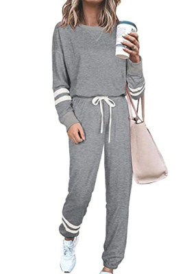 Gray Round Neck Long Sleeve Two Piece Pants Set