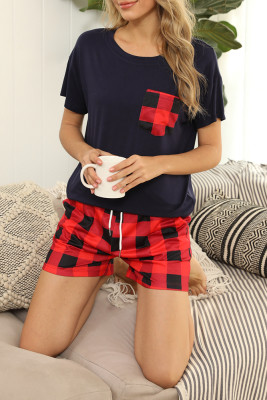 Red Two Plaid Pieces Loungewear Set with Pocket