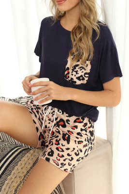Black Leopard Two Pieces Loungewear Set with Pocket