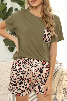 Army Green  Leopard Two Pieces Loungewear Set with Pocket